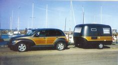 Woody - Pt Cruiser - Boler  I loved my little pt cruiser woody. She was a pearlized purple color with a spoiler. Someday I will get another one and one of these trailers...