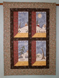 Quilted Wall Hanging  Winter Christmas Snowman by RedNeedleQuilts, $65.00