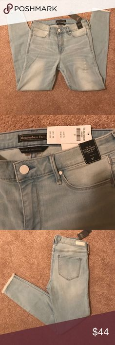 """Abercrombie & Fitch Ripped Skinny Ankle Jeans A&F mid-rise ankle with new fashion details, frayed hems and stretch fabric, ripped details, zipper fly, Imported  Model is 5'9"""" wearing Size 25 Regular Short: 24.5"""" Regular: 26.5"""" Long: 28.5"""" Material And Care  89% Cotton, 8% Polyester, 3% Elastane Wash before wear, turn garment inside out Machine wash cold, with like colors Do not bleach Tumble dry low Warm iron if needed Do not dry clean Abercrombie & Fitch Jeans Skinny"""