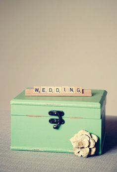 a cute mint Scrabble themed box that could be used to hold my Scrabbled themed wedding guest book cards // www.thetrendysparrow.etsy.com