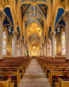 Interior of Basilica of the Sacred Heart at Notre Dame University, South Bend, Indiana Church we were married in. Cathedral Basilica, Cathedral Church, Church Architecture, Beautiful Architecture, Old Churches, Catholic Churches, Roman Catholic, South Bend Indiana, Notre Dame Basilica