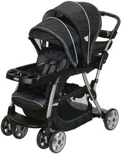 Graco Ready To Grow Duo Stroller - Metropolis $189.99 The most versatile stroller. With 12 riding options, from infant to youth, your kids will love getting out and about. The Ready2Grow Stand and Ride Stroller accepts TWO Graco SnugRide Infant Car Seats, America's #1 selling infant car seats, has a standing platform and bench seat for your older child, and a removable Face Time rear seat for some bonding time with baby.