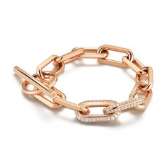 SAXON | 18K Rose Gold Chain Link Toggle Bracelet with 2 Double Diamond Links