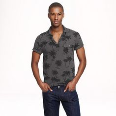 Cotton polo in palm tree print - tees, polos & fleece - Men's New Arrivals - J.Crew