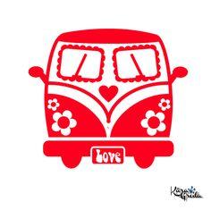 Bügelbilder - Flower Power Bus Flex & Velour Bügelbild Fa... - ein Designerstück von Kaeragroda bei DaWanda