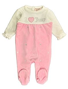 Juicy Couture BabyGirls Newborn Ivory Pink Footed Coverall Multi 69 Months ** Click on the image for additional details.
