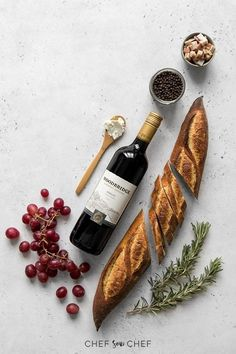"""Chef Sous Chef"""">wine and baguette flat lay Informations About Grape and Goat Cheese Crostini with Pancetta Planchette Apero, Wine Cheese, Goat Cheese, Grapes And Cheese, Mac And Cheese Rezept, Dinner Party Appetizers, Dinner Parties, Cheese Appetizers, Wine Photography"""