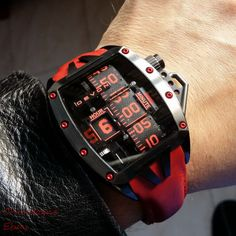 Devon Tread 2 Murder unique electro mechanical belt display mens watch RED DLC