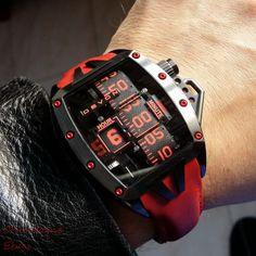 Devon Tread 2 Murder unique electro mechanical belt display mens watch RED DLC