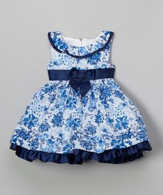 Look at this Blue & White Floral Dress - Toddler & Girls on #zulily today!