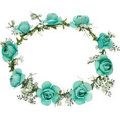 TOPSHOP   Turquoise Flower Hair Garland by Orelia ( 46) ❤ liked on Polyvore f0b90b6350e