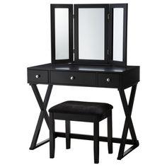 Linon X-Base Vanity Set - Black : Target