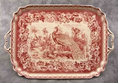 Red Cream Transferware French Peacock Toile Serving Platter Tray w Handles | eBay