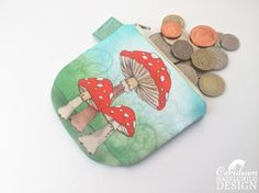 Toadstool Mushrooms Coin Purse Handmade Purse Zip Purse