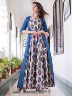 Exotic blue maslin digital printed gown online available at Inddus.com. Shop this alluring gown for upcoming parties and grand events. Indian Dresses For Girls, Wedding Dresses For Girls, Girls Dresses, Maxi Dresses, Gown With Jacket, Jacket Style, A Line Kurti, Printed Gowns, Gowns Online