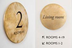 Interior bronze signage for Tel Aviv hotel Townhouse designed by Koniak. #Design #Branding #Signage