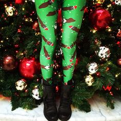 Nicole holiday-ready in our Xmas Poo Leggings