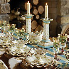 A new MacKenzie-Childs classic. Parchment Check is a beautiful way to set your Thanksgiving table!