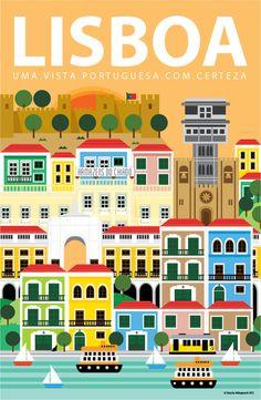 Lisbon Illustration on Pantone Canvas Gallery
