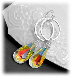 Crystal AB swarovski earrings - Long crystal ab swarovski earring - Aurora Borealis earrings - Long dangle earrings by atelierblaauw on Etsy