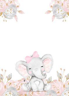 Elephant Baby Showers, Pink Elephant, Elephant Wall Art, Baby Shower Invitation Templates, Shower Invitations, Baby Shower Templates, Baby Animal Drawings, Baby Shower Invitaciones, Baby Posters