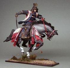 Самурай Цугару Таменобу. Fantastic toy soldier samurai warrior on horseback.
