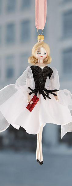 De Carlini - Lady in Black & White Christmas Ornament. Via @swisschicboutiq…