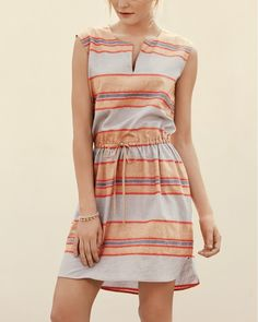 This sleeveless dress with easygoing stripes and a drawstring cinched waist will be the perfect dress on sunny days.