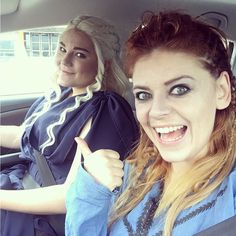 Driving with #daenerystargaryen ... #Lagertha is copilot .. on our way to #comiccongermany2017