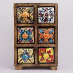Apothekerschrank-6-Schubladen-Gewuerzschrank-Porzellan-Keramik-Kraeuter-Antik-Holz