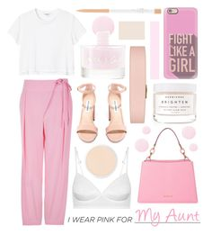 """""""I Wear Pink For My Aunt"""" by randomfashioncollections ❤ liked on Polyvore featuring TIBI, Steve Madden, Monki, MICHAEL Michael Kors, Casetify, Clinique, Smith & Cult, Herbivore and Tory Burch"""