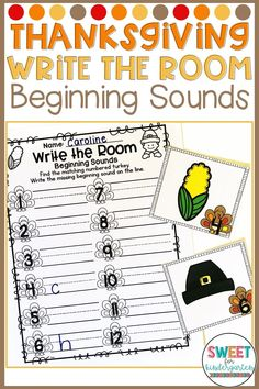 Looking for literacy ideas? Use this Thanksgiving write the room focusing on beginning sounds with your students! Students will walk around the room, looking for pictures, and write down the beginning sound. Great for Kindergarten or First Grade! Thanksgiving Activities For Kindergarten, Writing Center Kindergarten, Thanksgiving Writing, Autumn Activities For Kids, Kindergarten Class, Reading Centers, Literacy Centers, Thing 1, Beginning Sounds