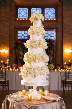 This elegant five-tier wedding cake will surely turn heads.