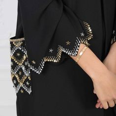 Subhan Abayas @ with احلىلى ع ع you can find similar pins below. We have brought the best. Zardozi Embroidery, Hand Embroidery Dress, Couture Embroidery, Embroidery Fashion, Hand Embroidery Designs, Beaded Embroidery, Sleeves Designs For Dresses, Sleeve Designs, Abaya Designs