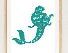 Little mermaid poster - minimalist Ariel silhouette wall art print - INSTANT DOWNLOAD - Disney princess printable