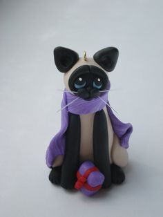 Siamese Cat Figurine Christmas Ornament Polymer by HeartOfClayGirl
