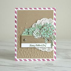 Mother's Day Card using Oh, So Succulent stamp set and framelits from the Stampin' Up! 2017 Occasions mini catalog - Charlet Mallett