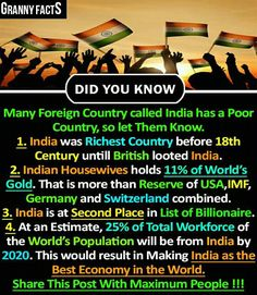 """It's just few facts, that is why India is also known as """"The Bird of Gold, Culturally Rich, Compassionate etc. Wierd Facts, Wow Facts, Real Facts, Wtf Fun Facts, True Facts, True Interesting Facts, Interesting Facts About World, Intresting Facts, General Knowledge Facts"""
