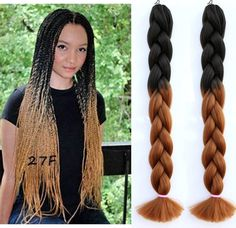 Ombre black brown braid  hair  two tone Kanekalon Jumbo Braiding Hair Synthetic hair extension  African American Braiding Hair