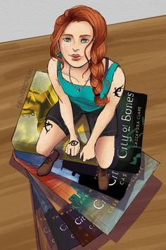 Beautiful fanart of Clary and the Mortal Instruments books! All credit goes to the artist! Malec, Clace Fanart, Clary Y Jace, Clary Fray, Mortal Instruments Books, Shadowhunters The Mortal Instruments, Immortal Instruments, Cassie Clare, Jace Wayland