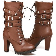 Amazon.com   Women's Mid Calf Booties Autumn Winter Lace Up Military... ($28) ❤ liked on Polyvore featuring shoes, boots, ankle booties, lace up boots, lace up cowboy boots, lace-up ankle boots, ankle cowboy boots and cowgirl boots
