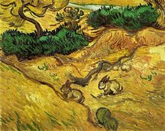Vincent van Gogh - Field with Two Rabbits, 1889
