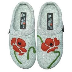 119c8b1ca3f The women s Haflinger Blossom Boiled Wool Slippers in Silver Grey offer the  perfect combination of cozy