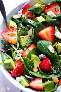 Avocado Strawberry Spinach Salad with Poppy Seed Dressing !! 6 cups fresh baby spinach 1 pint strawberries, hulled and sliced 1 avocado, diced 4 ounces crumbled gorgonzola 1/4 cup sliced almonds, toasted half a small red onion, thinly sliced http://www.gimmesomeoven.com/avocado-strawberry-spinach-salad-with-poppyseed-dressing/