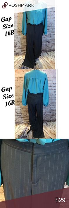 "SZ 16 GAP GRAY PINSTRIPED TROUSERS PLUS These are fabulous for the work environment. They are gently used with front and back pockets. Waist 19"" Hips 23.5"" length 31"" Gap Pants Trousers"