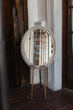 Juliet Mirror on Agnes Easel | Welcome Sign