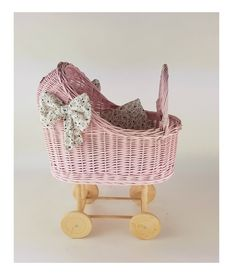 Dolls Prams, Bassinet, Wicker, Little Girls, Trending Outfits, Wood, Unique Jewelry, Handmade Gifts, Etsy