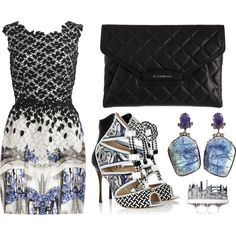 """Black and White And Pretty Bitty Blue"" by leiastyle on Polyvore"