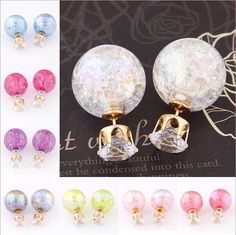 Fashion Brand Pearl Double Stud Earrings Colorful Balls Statement Zircon Crystal Earring For Women