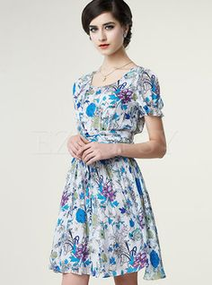 Shop for high quality O-Neck Floral Print Ruffled Dress online at cheap prices and discover fashion at Ezpopsy.com